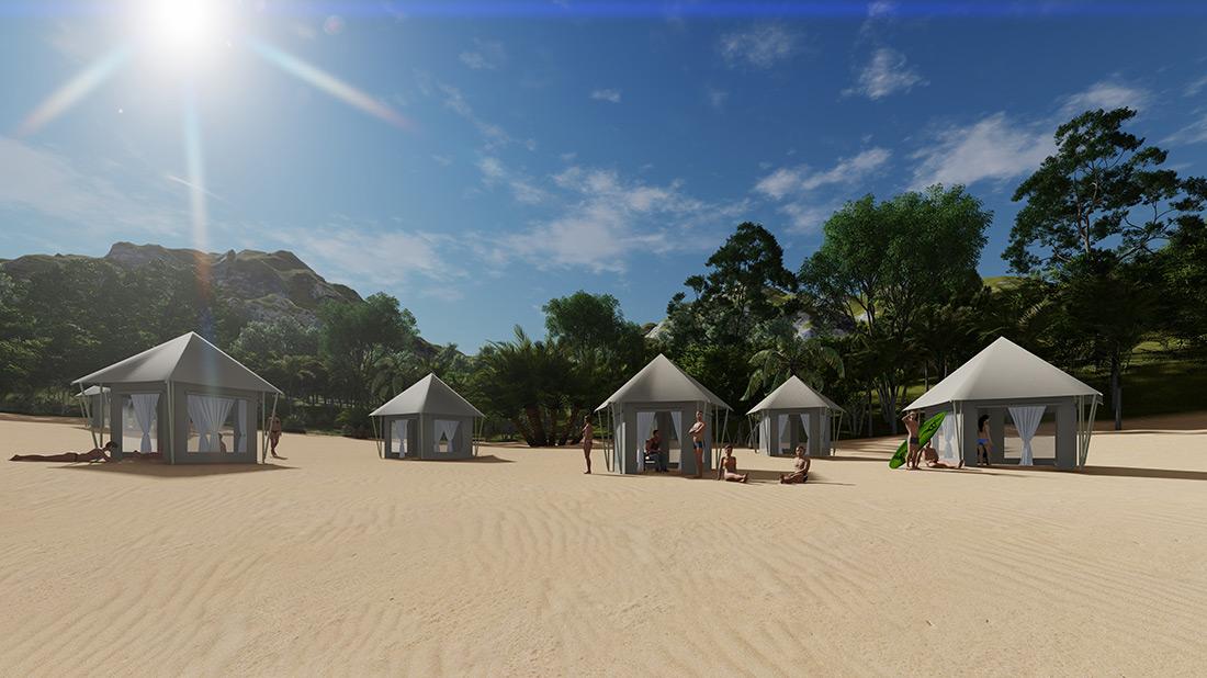 Beach side tents